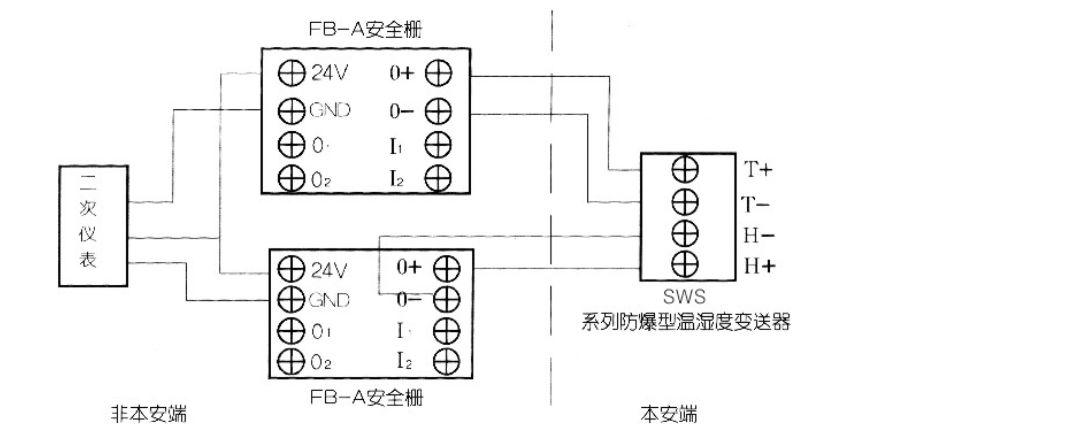 温湿度变送器安全栅接线图